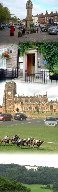 Collage of photos of Thirsk and the local area